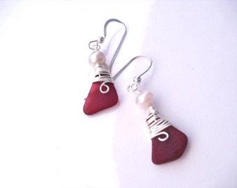 Genuine Red Sea Glass Earrings- rare Red sea glass earrings- Jewelry- Sea glass jewelry