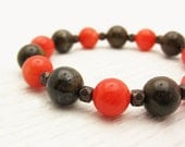 """6 - 6 1/4"""" Wrist ONLY / Orange Coral Chocolate Bronzite and Oxidized Copper Bead Bracelet / tangerine tango brown rust / woodland inspired"""