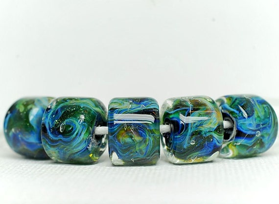 Lampwork boro bead set (5), rolo, sea blue, sea green, yellow, purple, white, sparkle.  SRA