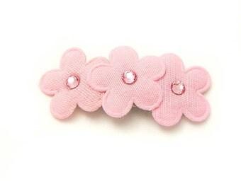 Pink Flower Barrette, Apple Blossom Barrette, Flower Hair Clip, Pink Rhinestones, Baby Toddler Girl Women 3ft, Handmade Baby Barrette