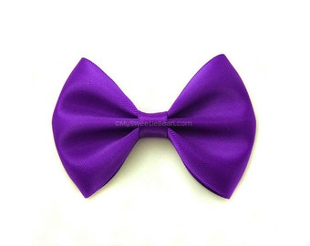 Violet Satin Hair Bow, 3 Inch Bow, Classic Hair Bow, Dark Purple, No Slip Infant Hair Bow, Baby Toddler Girls Women