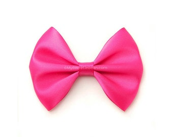 Shocking Pink Satin Hair Bow, 3 Inch Bow, Classic Hair Bow, No Slip Infant Hair Bow Newborn Baby Toddler Girls Women