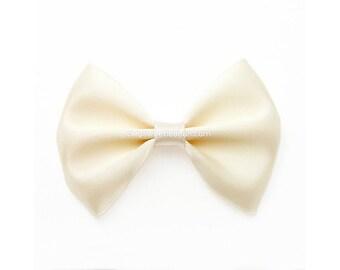 Ivory Satin Hair Bow, Satin Bow Headband, 3 Inch Bow, Classic Hair Bow, Cream, No Slip Baby Hair Bow, Skinny Elastic Headband