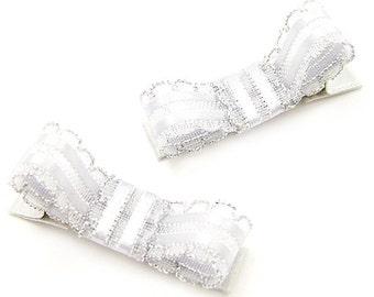 Fancy Silver Hair Clips, Metallic Silver Tuxedo Bows, Dressy Hair Bows, SIlver Satin Hair Bows, Sheer Organza, Holiday Special Occasion