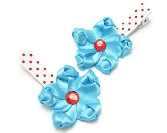 Flower Hair Clips, Turquoise Hair Clips, Satin Flowers, Red and Blue, Polka Dots, Retro Pin up, 1950s colors, Baby Toddler Girl