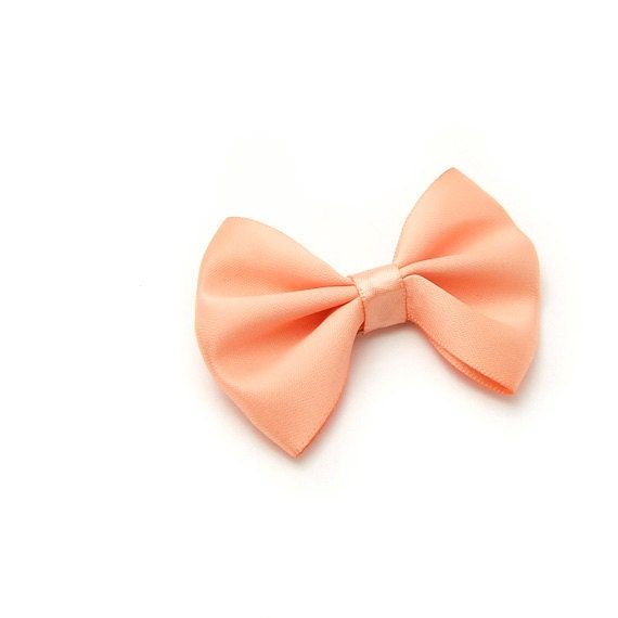 Apricot Satin Hair Bow, Satin Tuxedo Bow, Peach, Light Orange, Hairbows for Girls