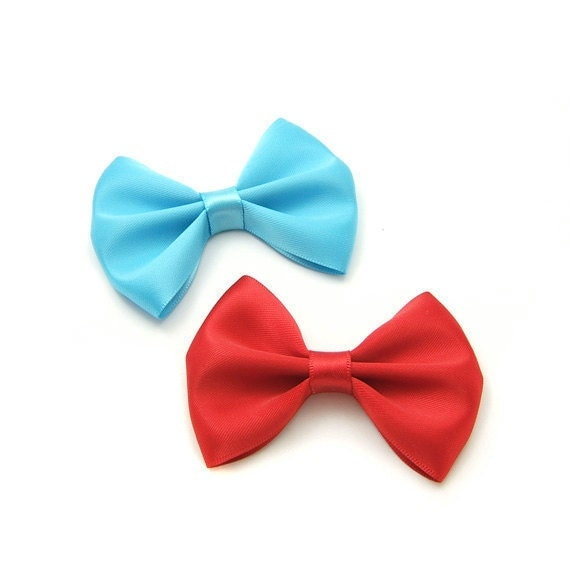 One Pair Satin Hair Bows, 3 inch Hair Bows, Satin Tuxedo Bow in 60 satin colors, Red and Aqua, Kawaii Hair Bow