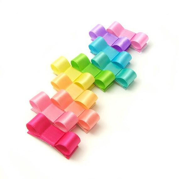 Neon Rainbow Tuxedo Bows, Baby Snap Clips, No Slip Newborn Set of 10, Bows For Fine Hair, Newborn Baby Toddler Girl