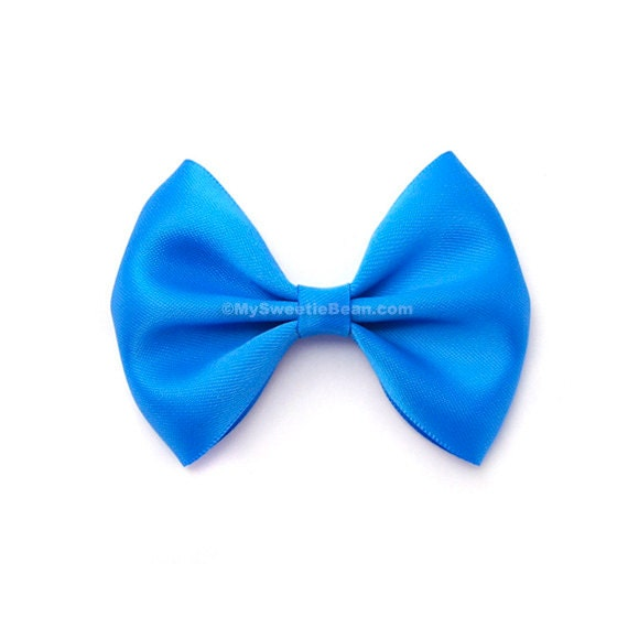 Aegean Blue Hair Bow, 3 Inch Bow, Satin Hairbow, Toddler Hairbows, For Girls, Babies, Women, Electric Blue