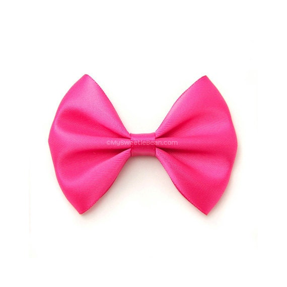 shocking pink satin hair bow 3 inch bow classic hair bow no