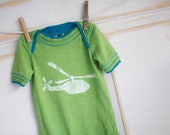 12-18 Month Green and Blue Infant Organic Helicopter Onesie