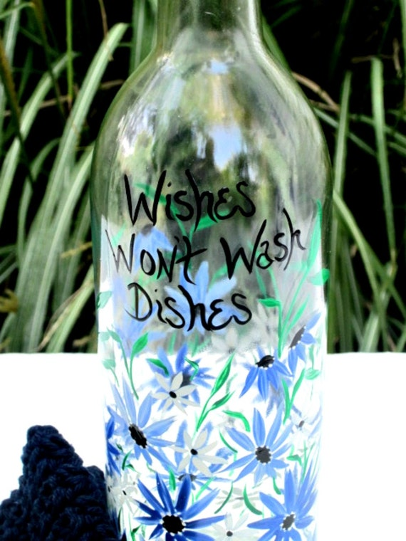 Wine Bottle Dish Soap Dispenser Hand Painted Shades of Blue