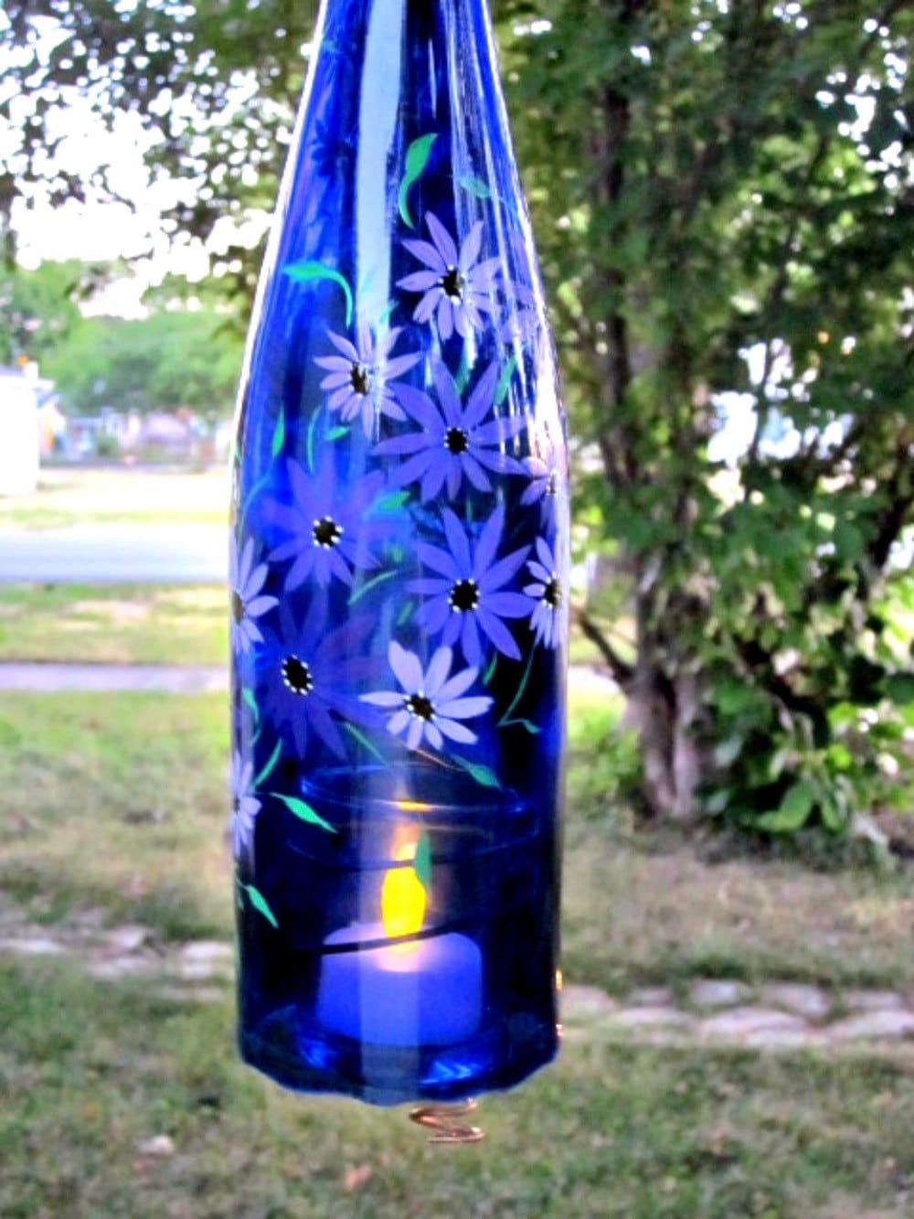 Recycled wine bottle garden light hanging candle holder for Wine bottle patio lights