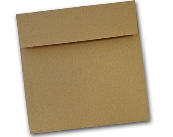 Brown Bag KRAFT  6 inch SQUARE  flap Envelopes 25 pack