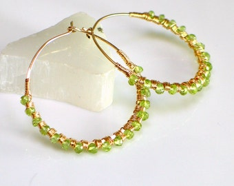 August Peridot Hoop Earrings Deluxe, Big Gold Hoop & Green Gem Earrings, Hand Forged GF Hoops, Gift for Her, August Birthstone Ready to Mail