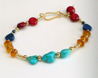 Gold and Turquoise with Bright Primary Colors Beaded Bracelet, Red Yellow Blue, Gold-filled Beaded Bracelet, Bright Joyful Gift