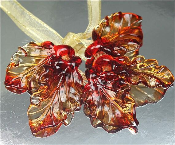 SRA Lampwork GemsInBloom Red Lampwork Leaves - Five Leaves