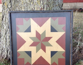PriMiTiVe Hand-Painted Barn Quilt, Small Frame 2' x 2' - My Mother's Star Pattern