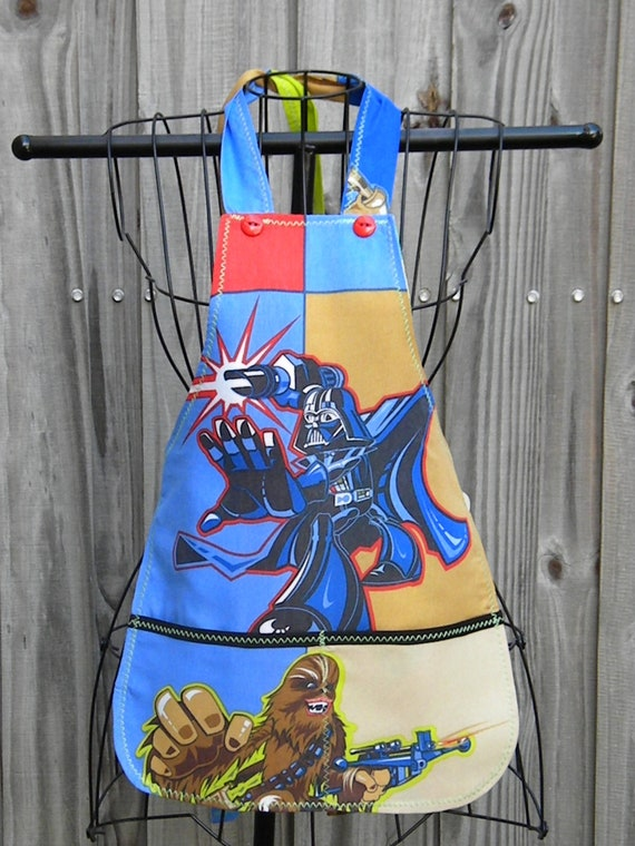 Upcycled Recycled Childrens Apron Star Wars Clone Wars