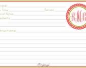 Personalized Recipe Cards - Preppy Monogram