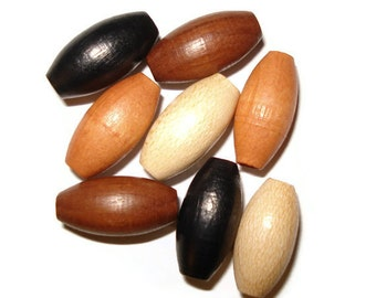 7x14mm Oval Wood Beads Wooden Beads (25) Earthy Mix