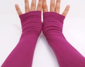 Arm Warmers in Fuchsia Magenta Pink - Bamboo - Extra Long - Eco Friendly - LAST PAIR