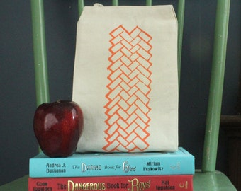 Brick pattern lunch bag recycled cotton geometric screen print peach water based ink