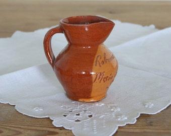 Vintage Spanish earthenware pitcher, Meson de Candido Segovia small souvenir jug from 1980