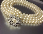 Pearl Necklace Wedding Bridal Duchess Four Strand Vintage Jewelry