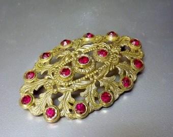 Art Nouveau Style Brooch Red Rhinestone Gold Filigree Vintage Costume Jewelry