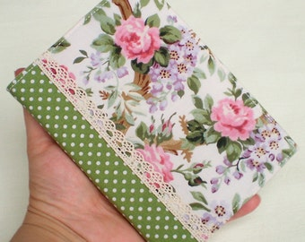 Fabric Journal Cover - Dotty Roses - Handmade A6 Notebook, Diary - Pink and Purple Flowers With Lace and Green Polka Dots