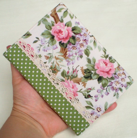 Handmade Book Cover Material ~ Fabric journal cover dotty roses handmade a notebook