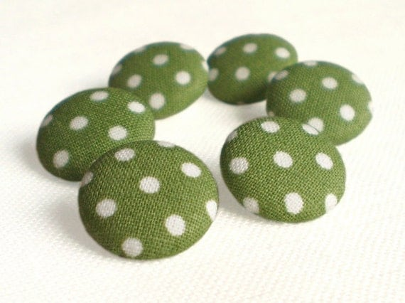 Fabric Buttons - Green Polka Dots - 6 Small or Medium Sized Green and White Fabric Covered Buttons, Handmade Button, Sewing Knitting
