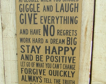 Life Family Rules typography sign
