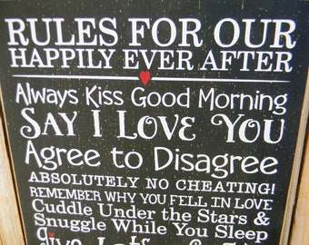 Rules For Our Happily Ever After -Happy Marriage typography word art subway wood sign