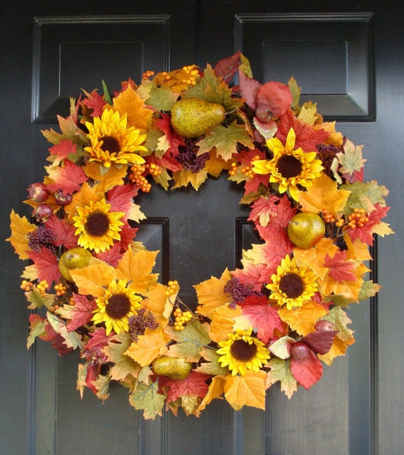 Reserved Listing for Tracy- A pair of fall sunflower, berries and fruit wreaths- Fall Wreath, Falll Leaves with Fruit Wreath, Holiday Decor