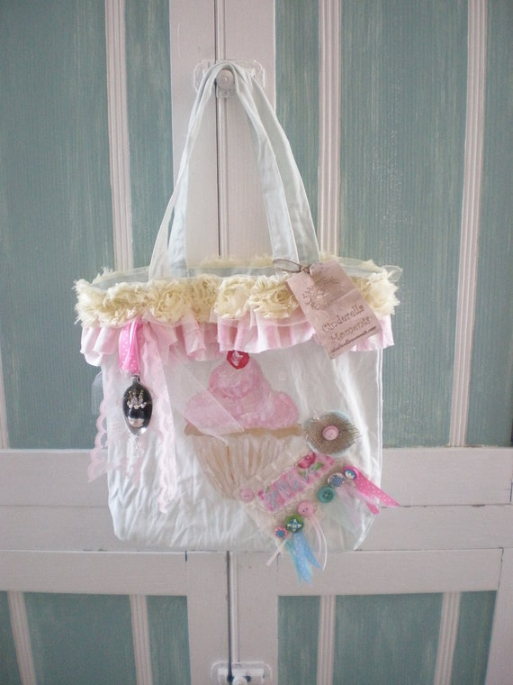 Shabby Chic  Pink Sparkle Cupcake Light Blue Tote