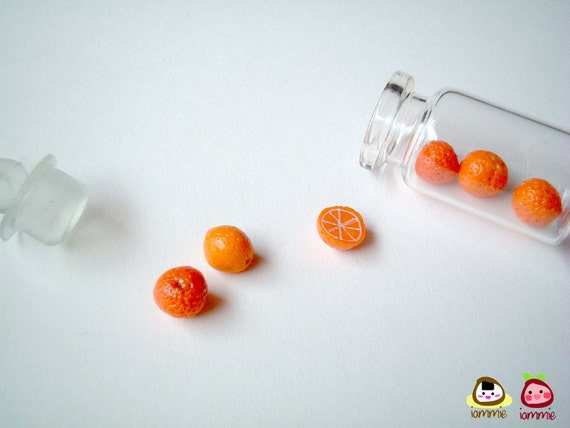 Miniature Clay Orange, food figurine, fruits, figure, poly clay, jar, miniature clay food, polymer clay, miniature food, iammie