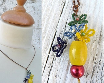 MULTICOLOR BOUQUET French hanfdmade beaded necklace