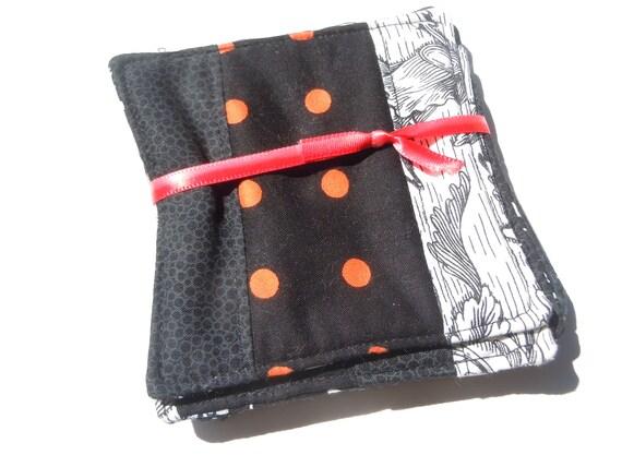Halloween Triple Top Fabric Coaster Set in Orange and Black