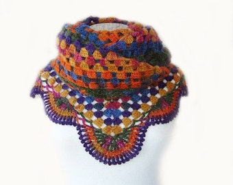 SPECIAL SALE , Express Delivery Afghan Colorful cashmere Mohair Triangle Shawl, Crochet, Vintage Style, Boho, Granny