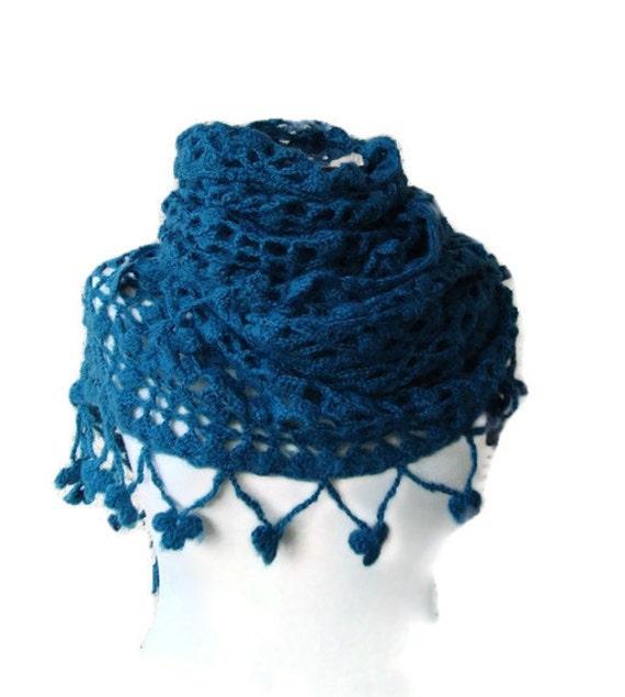 BIG SALE Teal, Dark Turquoise Blue Luxury Mohair Triangle Shawl