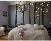 CLEARANCE Sale 40% off - 6 Cocoa Brown Birch Tree 8ft Wall Decals w Ready to ship