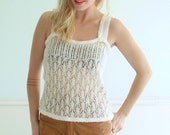 70s Vintage White Crocheted Boho Tank Top Sweater Knit SMALL S