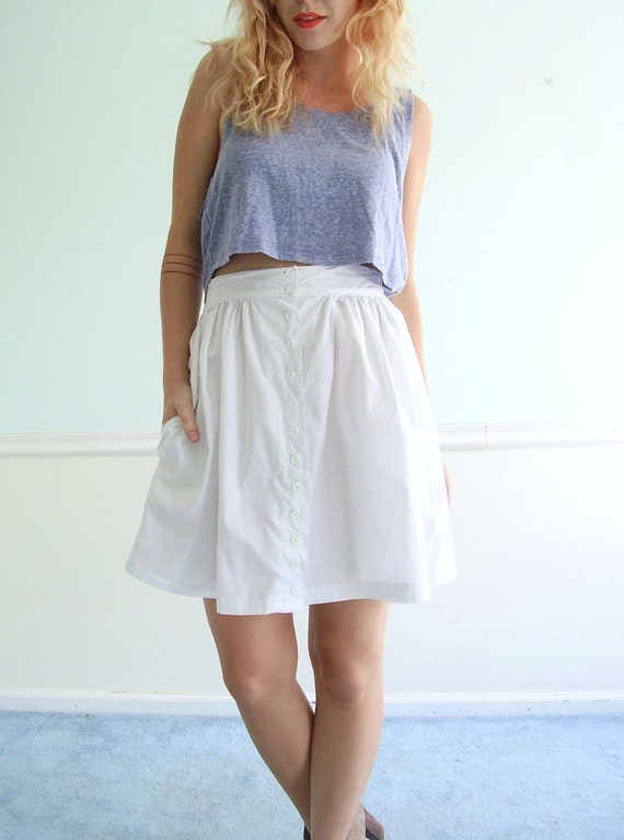 White Button Down High Waist Mini Skirt - Vintage 80s - Summer Classic - S M