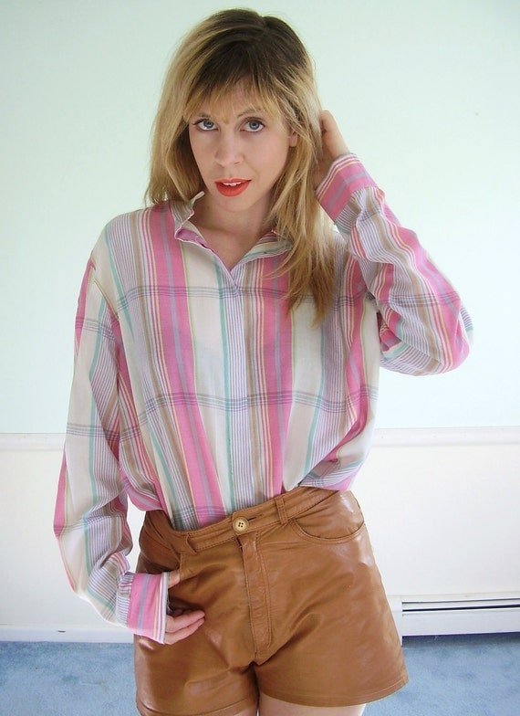 Western Skyline Vintage 80s Bright Pink Multicolor Plaid Button Down Shirt LARGE L XL