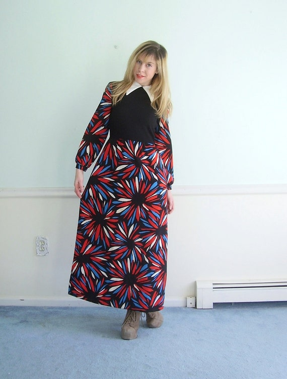 Firework Floral Vintage 60s 70s LS Mod Printed Hippie Maxi Dress SMALL S