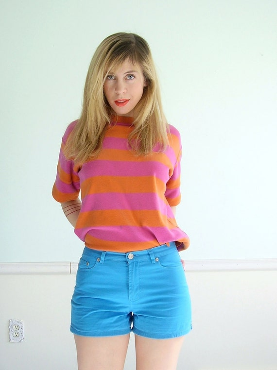 Cheshire Striped Vintage 80s Bright Pink and Orange SS T Shirt Top MEDIUM M