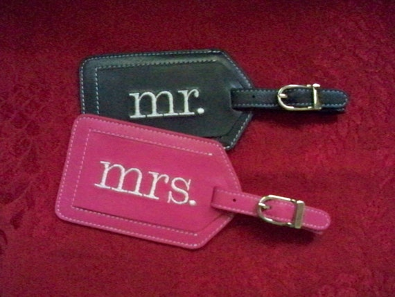 Mr. and Mrs. Luggage Tags with Block Font