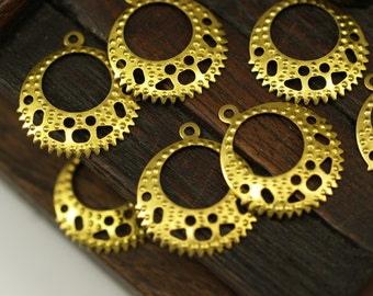 Brass Vintage Finding,  100 Raw Brass Earring Findings with Holes, Charms, Pendant,  (20x18mm)  Brs 417 ( A0243 )